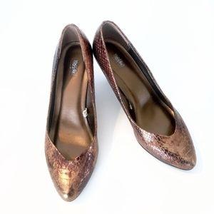 Mossimo snakeskin gold and brown chunky heel 8.5